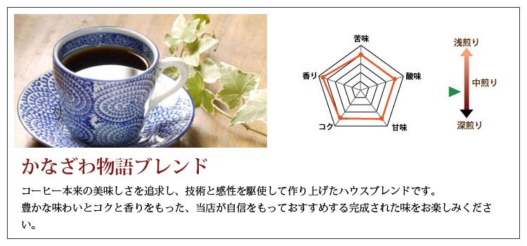 コーヒーギフトに最適!金澤屋コーヒー店で人気の自家焙煎ブレンドコーヒー豆、かなざわ物語ブレンド